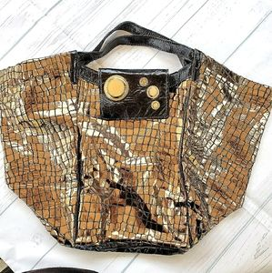 Gussto Large Gold Leather Tote Bag